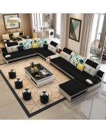 Canapé d'angle en U en Tissu noir et simili-cuir blanc TRAPANI + 4 poufs offerts