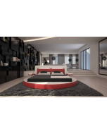 Lit rond design cuir PURITY + éclairage intégré