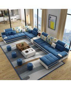 Canapé d'angle en U en Tissu bleu et simili-cuir blanc TRAPANI + 4 poufs offerts