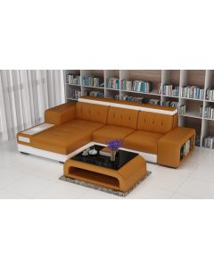 Canapé en L cuir ou tissu BARLETTA V2
