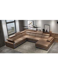 Canapé en U cuir ou tissu BRINDISI XL + Led